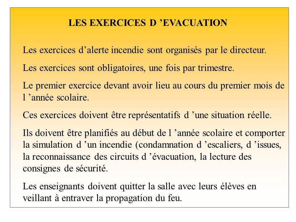 LES EXERCICES D EVACUATION Les exercices dalerte incendie sont organisés par le directeur.
