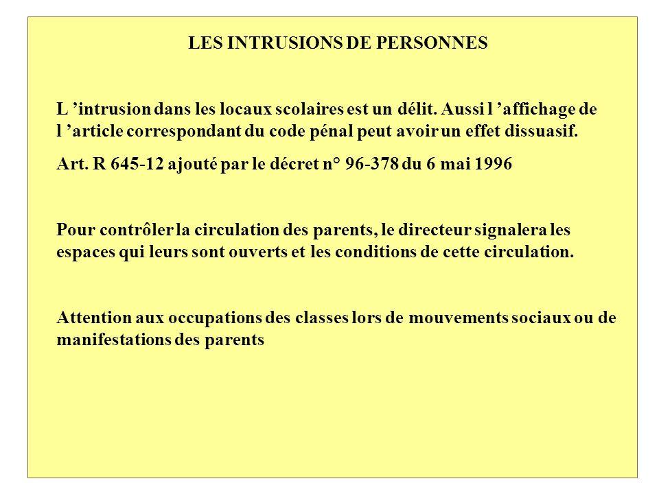 LES INTRUSIONS DE PERSONNES L intrusion dans les locaux scolaires est un délit.