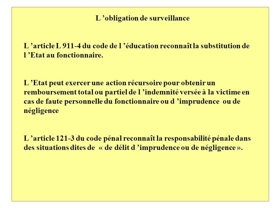 L obligation de surveillance L article L 911-4 du code de l éducation reconnaît la substitution de l Etat au fonctionnaire.