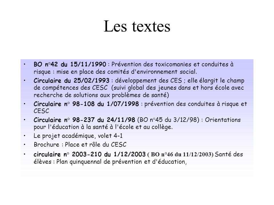 Les textes BO n°42 du 15/11/1990 : Prévention des toxicomanies et conduites à risque : mise en place des comités d environnement social.