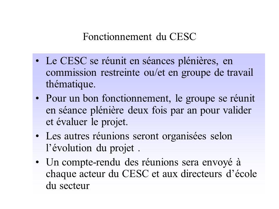 Fonctionnement du CESC Le CESC se réunit en séances plénières, en commission restreinte ou/et en groupe de travail thématique.