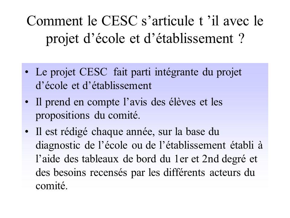 Comment le CESC sarticule t il avec le projet décole et détablissement .
