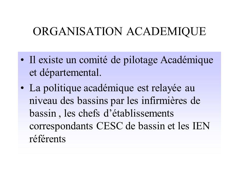 ORGANISATION ACADEMIQUE Il existe un comité de pilotage Académique et départemental.