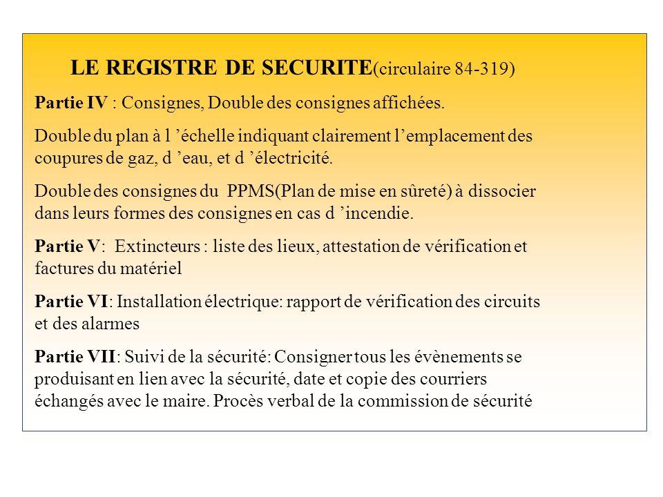LE REGISTRE DE SECURITE (circulaire 84-319) Partie IV : Consignes, Double des consignes affichées.