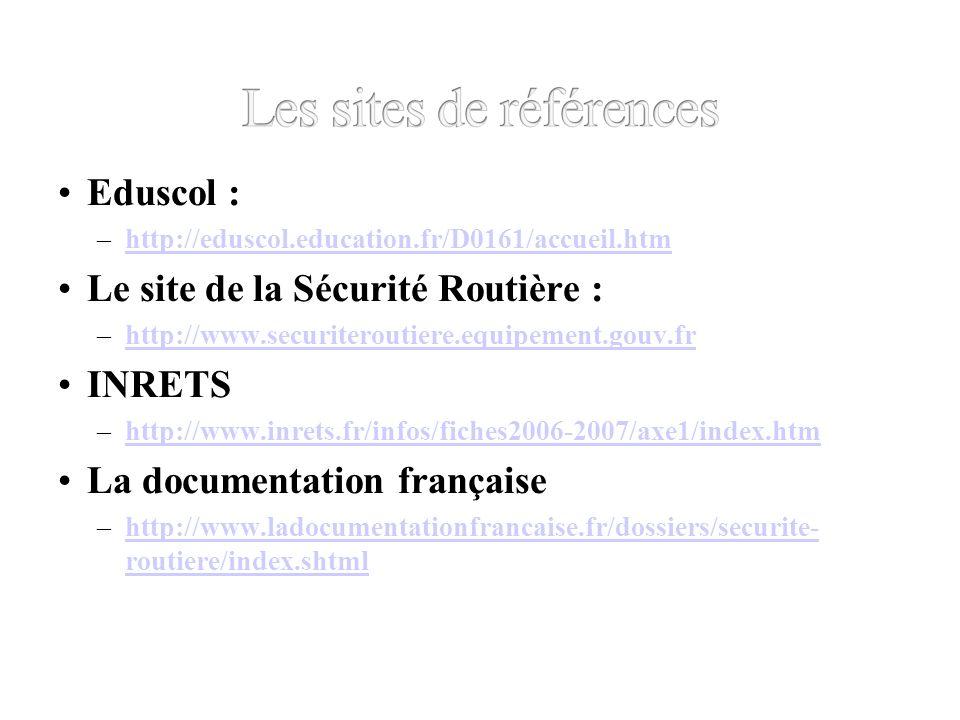 Eduscol : –http://eduscol.education.fr/D0161/accueil.htmhttp://eduscol.education.fr/D0161/accueil.htm Le site de la Sécurité Routière : –http://www.securiteroutiere.equipement.gouv.frhttp://www.securiteroutiere.equipement.gouv.fr INRETS –http://www.inrets.fr/infos/fiches2006-2007/axe1/index.htmhttp://www.inrets.fr/infos/fiches2006-2007/axe1/index.htm La documentation française –http://www.ladocumentationfrancaise.fr/dossiers/securite- routiere/index.shtmlhttp://www.ladocumentationfrancaise.fr/dossiers/securite- routiere/index.shtml