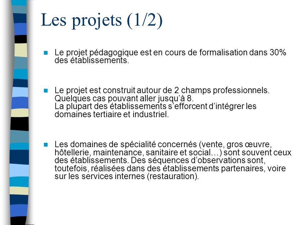 Les projets (2/2) De nombreux projets incluent le projet personnel de lélève et visent à le réconcilier avec lEcole et à développer : - la motivation, la dynamique de groupe, - la connaissance de soi, - la citoyenneté, - lorientation positive… Les projets sont majoritairement axés sur les compétences liées à : –la découverte et lexploration des activités professionnelles, –la découverte des lieux et modalités de formation.