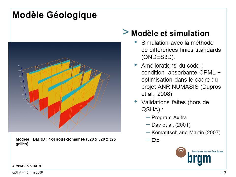 QSHA – 16 mai 2008 ARN/RIS & STI/C3D > 4 > 2 Description de sources > Modèle proposé (source ponctuelle) Fonction temporelle gaussienne proposée indépendante de la magnitude.