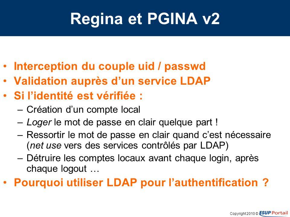 Copyright 2010 © Sécuriser LDAP peut être sécurisé –Un service qui sappuie sur LDAP peut utiliser LDAPS –En amont le mot de passe doit circuler en clair Serveurs CUPS contrôlés par LDAP Serveurs SMB contrôlés par LDAP Serveurs de fichiers NetApp –Cain & Abel LDAP pour authentifier est un problème