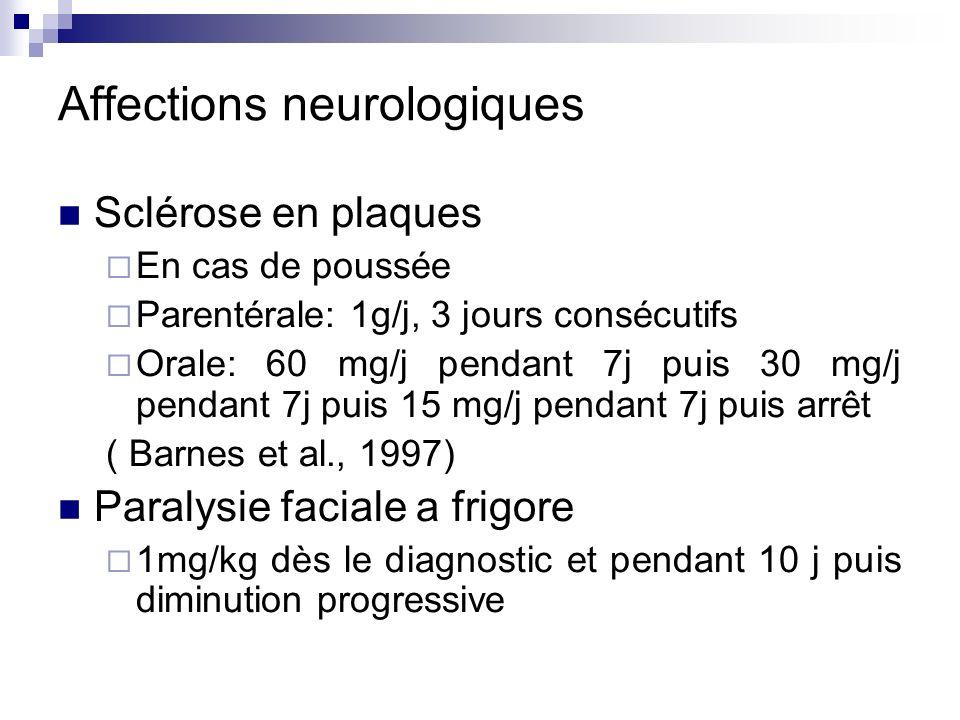 Pathologies infectieuses MNI Pas dindication dans la forme simple Cure courte dans les formes avec obstruction pharyngée Discutée en cas de complication hématologique, cardiaque, neurologique ou hépatique Laryngite aiguë sous glottique de lenfant 0,5 à 1 mg/kg pendant 2 à 3 jours Otorrhée chronique après otite moyenne Prednisolone + cotrimoxazole > cotrimoxazole seul