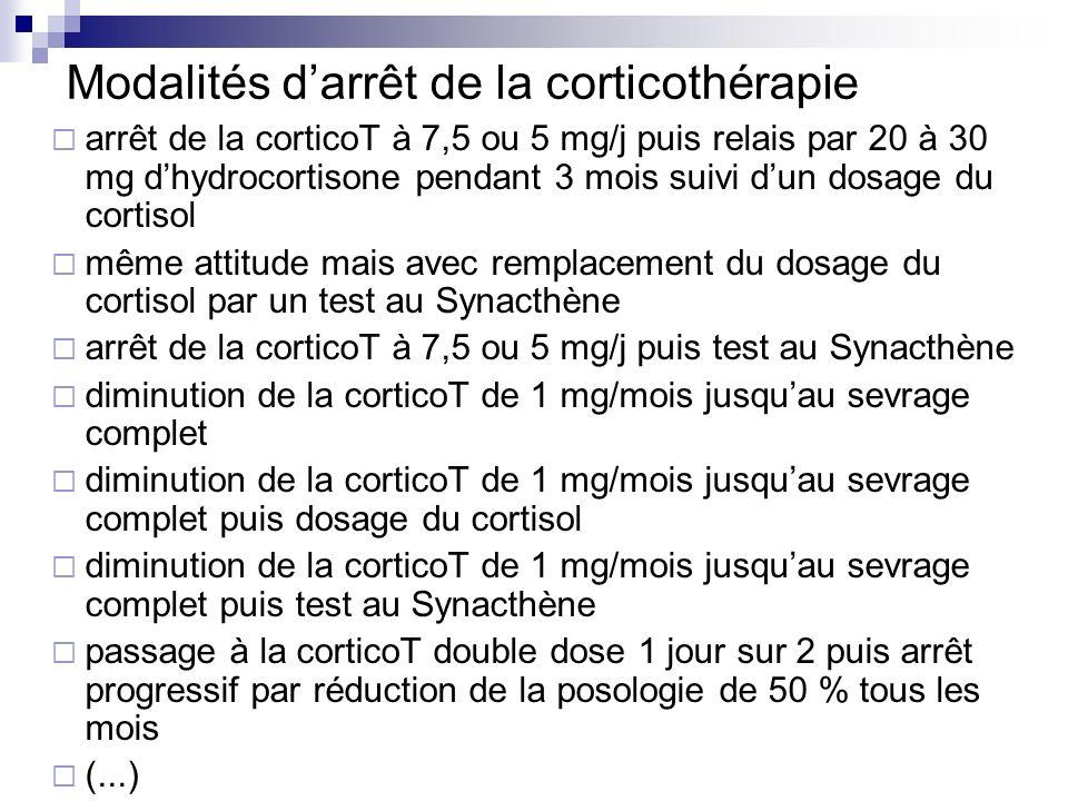 Modalités darrêt de la corticothérapie