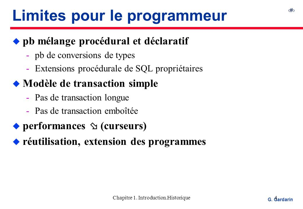 5 EQUINOXE Communications G.Gardarin Chapitre 1.