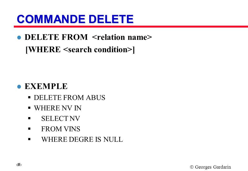 Georges Gardarin 14 SELECT Curseur SGBD UTILISATION DE SQL DEPUIS UN LP l Intégration de deux systèmes de types utilisation d un pré-compilateur et d une librairie l Passage de l ensembliste au tuple à tuple utilisation de curseurs et Fetch l Exemple Program PL/1-SQL EXEC SQL BEGIN DECLARE SECTION ; DCL VAR1 CHAR(20) ; DCL VAR2 INT ; EXEC SQL END DECLARE SECTION ; EXEC SQL DECLARE C1 CURSOR FOR SELECT …FROM … WHERE … :VAR1 EXEC SQL OPEN C1 ; DO WHILE SQLCODE = 0 BEGIN EXEC SQL FETCH C1 INTO :VAR2