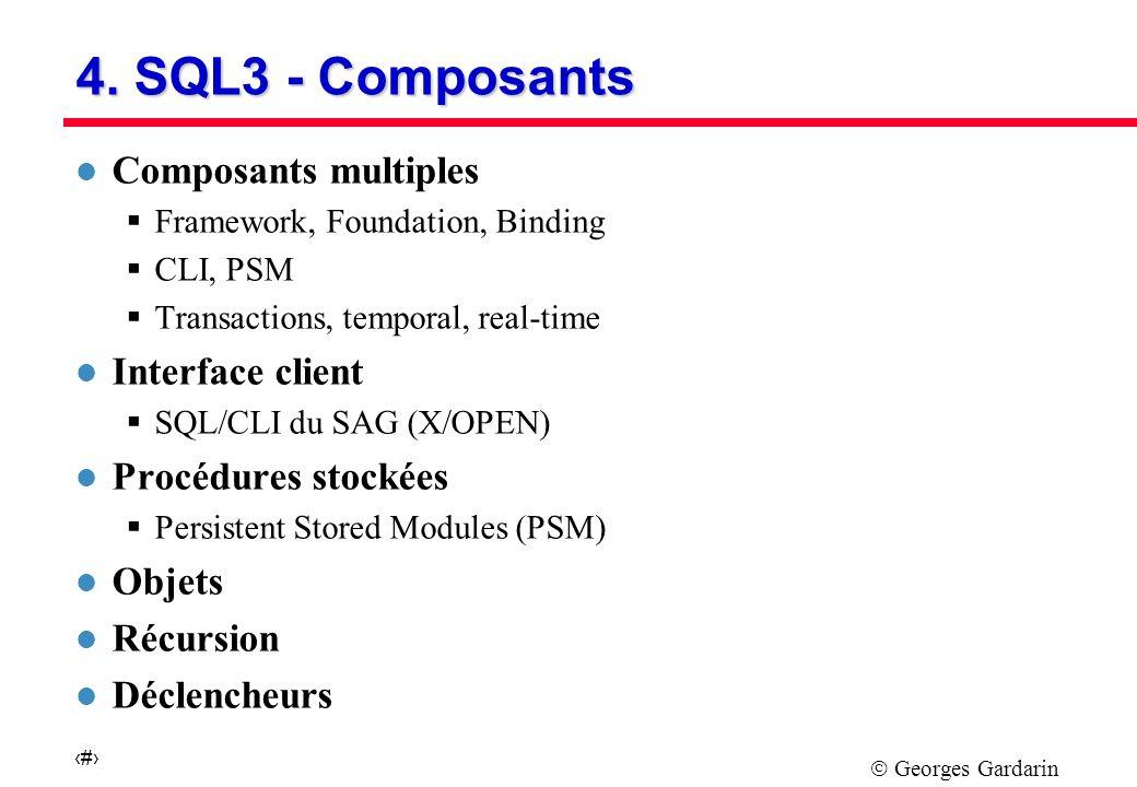 Georges Gardarin 25 Un Standard en Evolution l PROPOSITION CONCURRENTE DE L ODMG Accord entre constructeurs de SGBD Objets Support du modèle pur objet de l OMG Variation de SQL traitant des collections imbriquées l Accord ANSI X3 H2 et ODMG Définition d un langage d interrogation intégrant relationnel et objet Convergence relationnel-objet vers SQL3 l SQL3 prévu pour 1997 intégrera L4G Objet Règles (BD actives)
