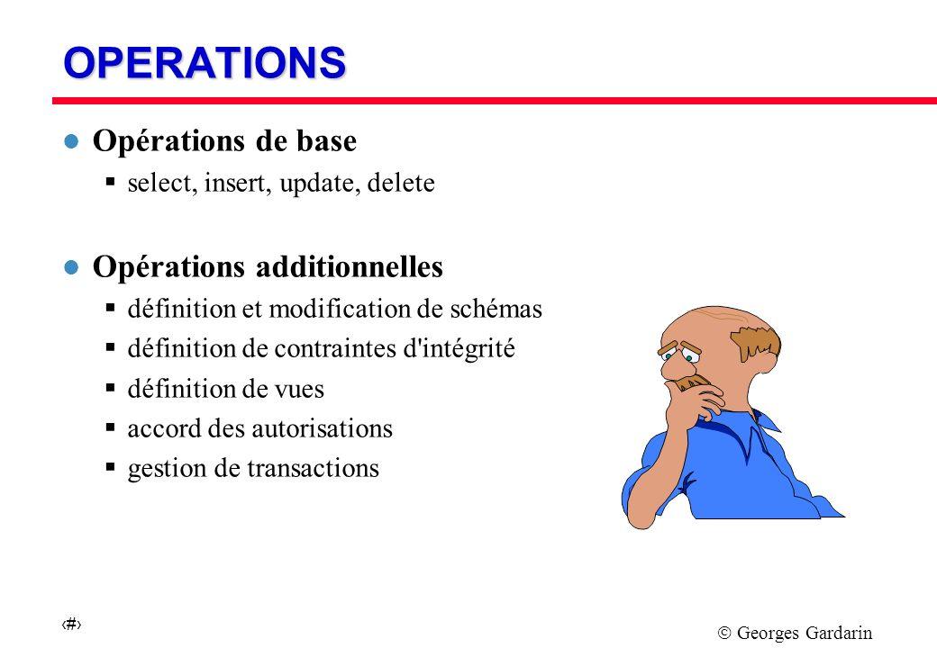 Georges Gardarin 4 ORGANISATION DU LANGAGE l SQL comprend quatre parties : l Le langage de définition de schéma (Tables, Vues, Droits) l Le langage de manipulation (Sélection et mises à jour) l La spécification de modules appelables (Procédures) l L intégration aux langages de programmation (Curseurs)