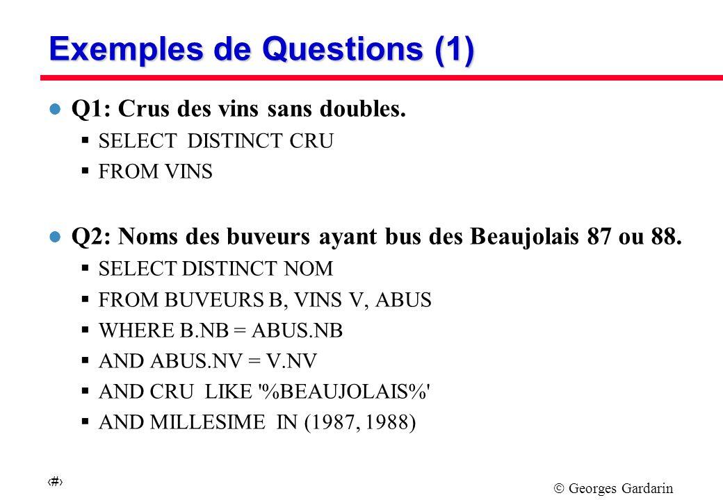 Georges Gardarin 8 Exemples de Questions (2) l Q3 : Noms et prénoms des buveurs de vins dont le cru commence par B, de degré inconnu ou compris entre 11 et 13.