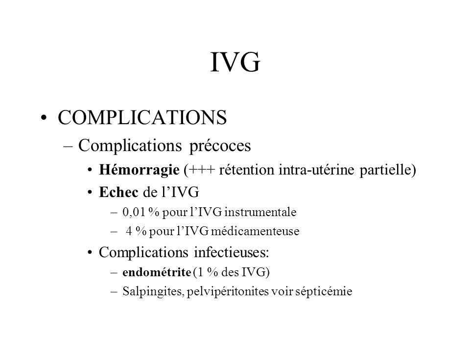 IVG COMPLICATIONS –Complications précoces Complications thromboemboliques Rétention de débris trophoblastiques –Métrorragies –Utérus non involué –Images hyperéchogènes à lécho Mortalité < 1/ 100 000 ( infection, embolie pulmonaire, accident anesthésique…)