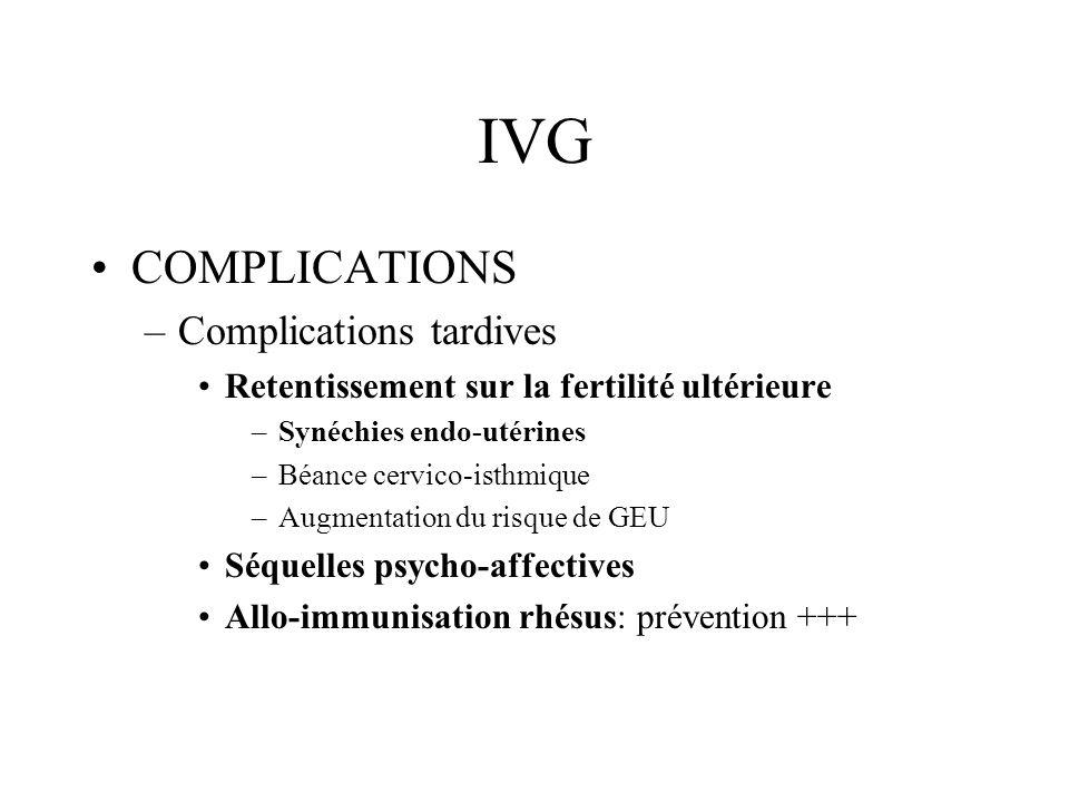 IVG COMPLICATIONS Plus lIVG est réalisée à un terme tardif, et plus le risque des complications est élevé.