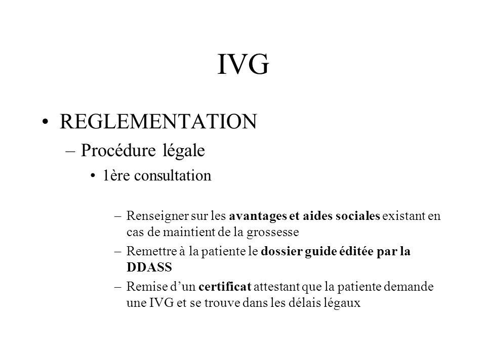 IVG REGLEMENTATION –Procédure légale Entretien social –Cest un entretien dinformation, de soutien et découte –Il doit être obligatoirement proposé à la patiente majeure avant et après lIVG –Il est obligatoire pour les mineures avec délivrance dune attestation de consultation