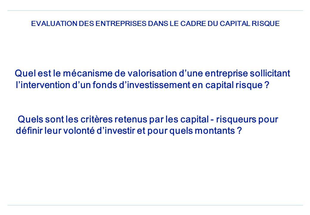 Quel est le mécanisme de valorisation dune entreprise sollicitant lintervention dun fonds dinvestissement en capital risque .