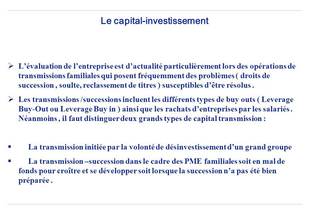 Le capital-investissement Lévaluation de lentreprise est dactualité particulièrement lors des opérations de transmissions familiales qui posent fréquemment des problèmes ( droits de succession, soulte, reclassement de titres ) susceptibles dêtre résolus.