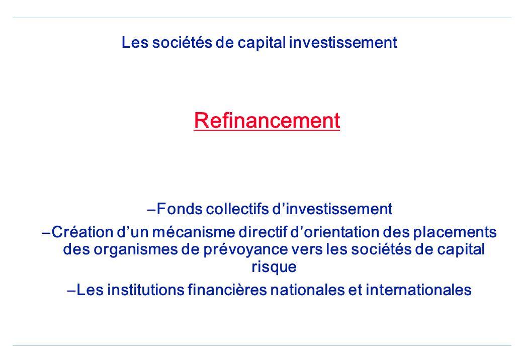Les sociétés de capital investissement Refinancement –Fonds collectifs dinvestissement –Création dun mécanisme directif dorientation des placements des organismes de prévoyance vers les sociétés de capital risque –Les institutions financières nationales et internationales