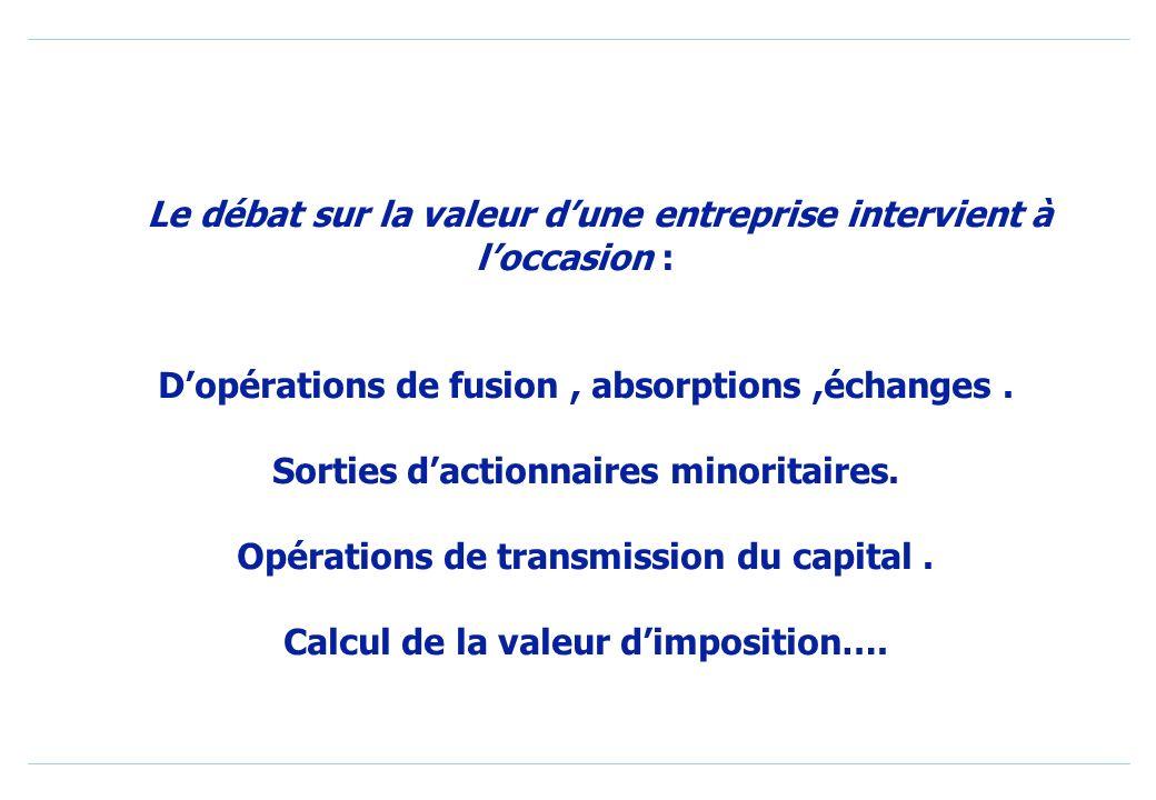 Le débat sur la valeur dune entreprise intervient à loccasion : Dopérations de fusion, absorptions,échanges.