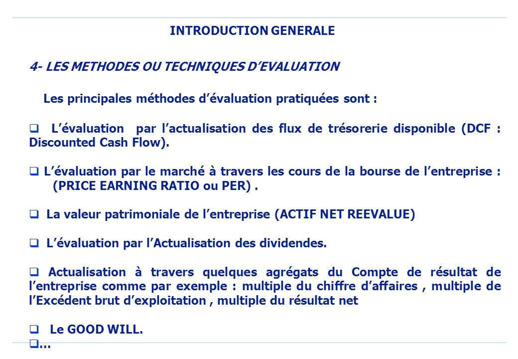 INTRODUCTION GENERALE Les principales méthodes dévaluation pratiquées sont : Lévaluation par lactualisation des flux de trésorerie disponible (DCF : Discounted Cash Flow).