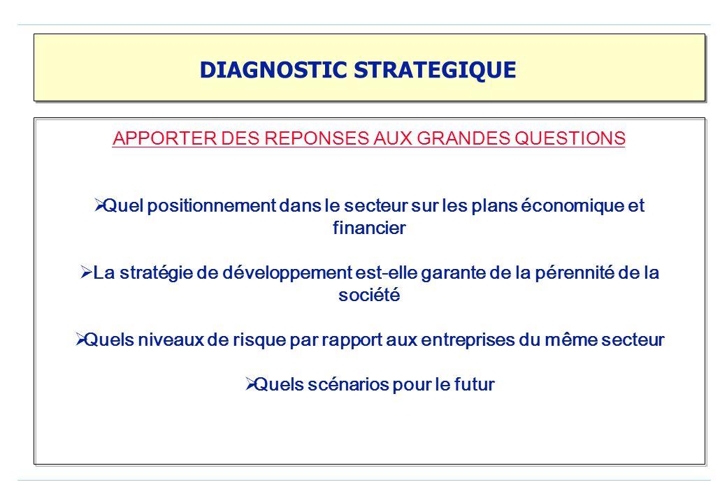 DIAGNOSTIC STRATEGIQUE APPORTER DES REPONSES AUX GRANDES QUESTIONS Quel positionnement dans le secteur sur les plans économique et financier La stratégie de développement est-elle garante de la pérennité de la société Quels niveaux de risque par rapport aux entreprises du même secteur Quels scénarios pour le futur