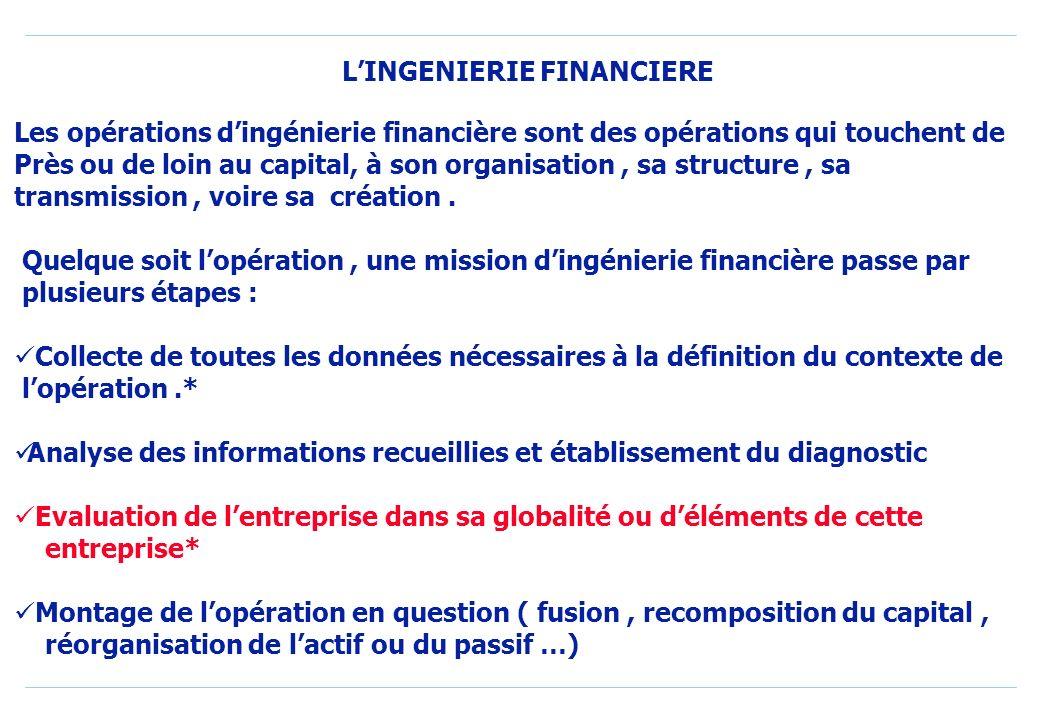 Les opérations dingénierie financière sont des opérations qui touchent de Près ou de loin au capital, à son organisation, sa structure, sa transmission, voire sa création.