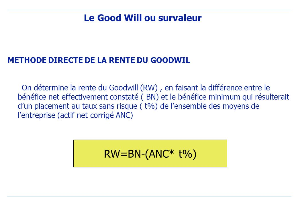 Le Good Will ou survaleur METHODE DIRECTE DE LA RENTE DU GOODWIL On détermine la rente du Goodwill (RW), en faisant la différence entre le bénéfice net effectivement constaté ( BN) et le bénéfice minimum qui résulterait dun placement au taux sans risque ( t%) de lensemble des moyens de lentreprise (actif net corrigé ANC) RW=BN-(ANC* t%)