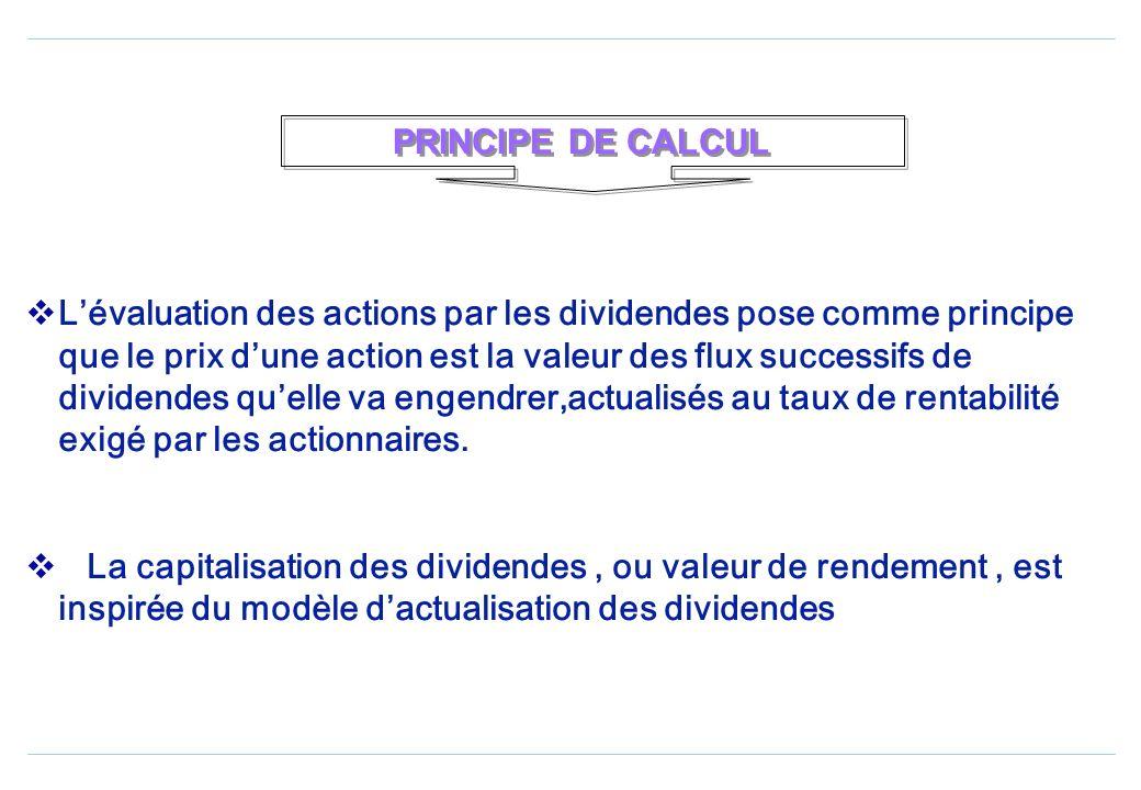 Lévaluation des actions par les dividendes pose comme principe que le prix dune action est la valeur des flux successifs de dividendes quelle va engendrer,actualisés au taux de rentabilité exigé par les actionnaires.