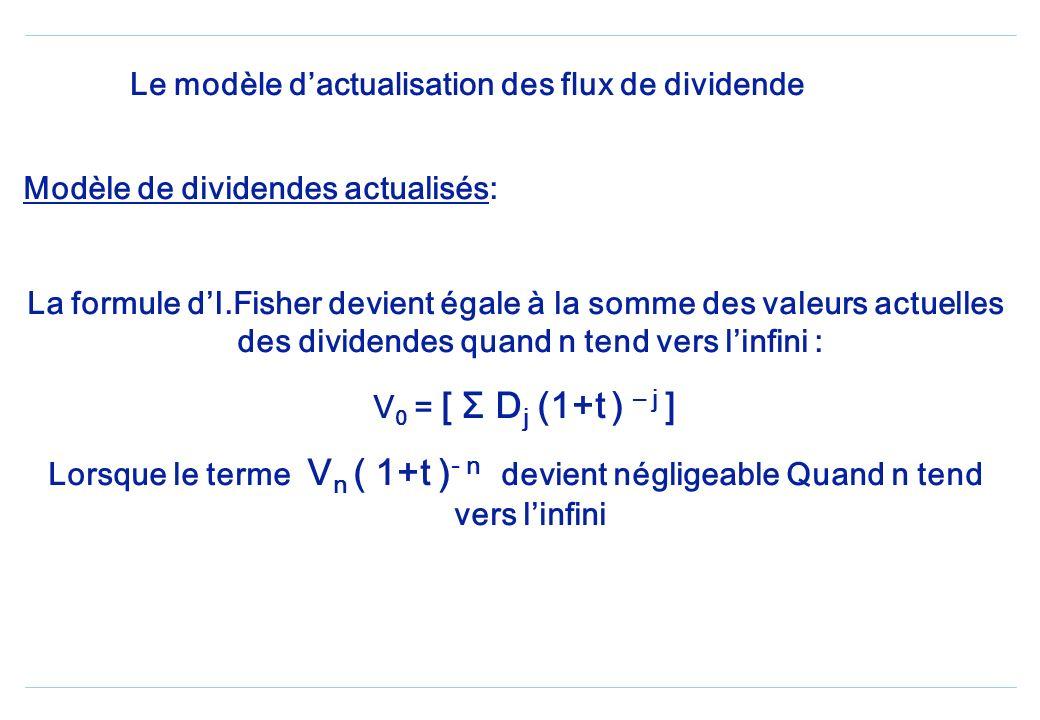 Le modèle dactualisation des flux de dividende Modèle de dividendes actualisés: La formule dI.Fisher devient égale à la somme des valeurs actuelles des dividendes quand n tend vers linfini : V 0 = [ Σ D j (1+t ) – j ] Lorsque le terme V n ( 1+t ) - n devient négligeable Quand n tend vers linfini