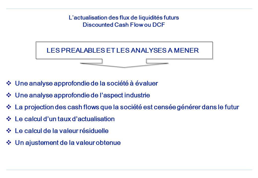 Lactualisation des flux de liquidités futurs Discounted Cash Flow ou DCF Une analyse approfondie de la société à évaluer Une analyse approfondie de laspect industrie La projection des cash flows que la société est censée générer dans le futur Le calcul dun taux dactualisation Le calcul de la valeur résiduelle Un ajustement de la valeur obtenue LES PREALABLES ET LES ANALYSES A MENER
