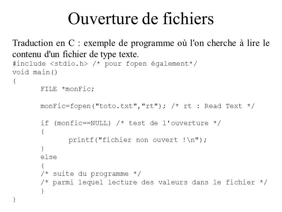 Ouverture de fichiers Autre forme classique : test fait sur la même ligne que l ouverture.