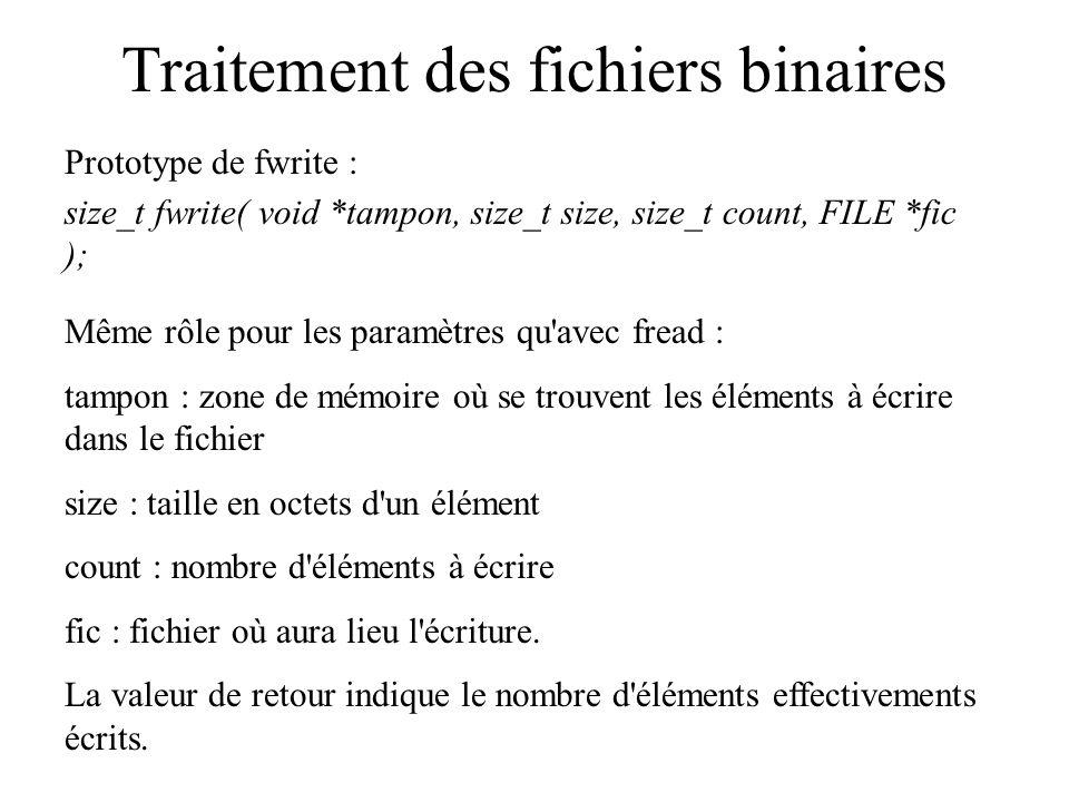 Fichiers binaires et tableaux Exemple de programmes utilisant des fichiers binaires : utiliser la similitude entre tableaux et fichiers binaires : seule application vue dans ce cours.