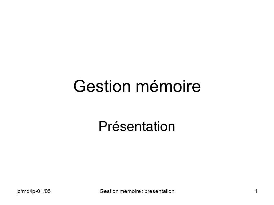 jc/md/lp-01/05Gestion mémoire : présentation2 Objectif du chapitre Organisation de la mémoire Découpage en slots Rôle du slot 0 Passage dadresses entre le slot 0 et le slot de lapplication