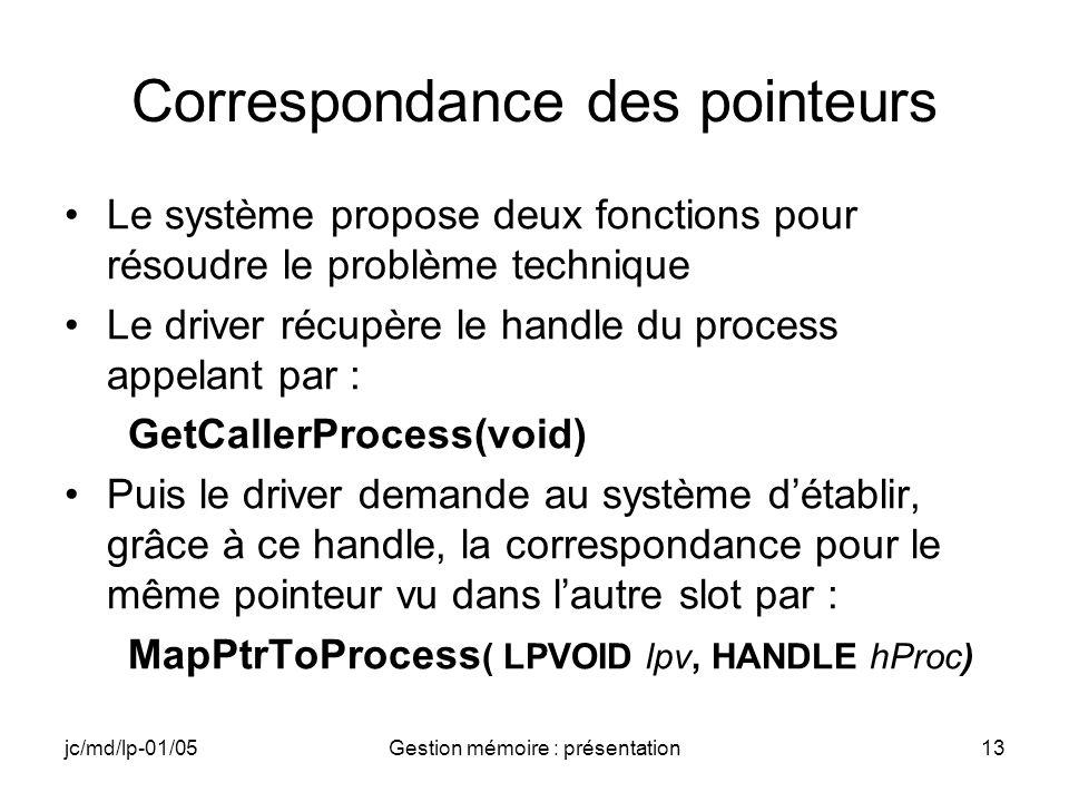 jc/md/lp-01/05Gestion mémoire : présentation14 GetCallerProcess(void) HANDLE GetCallerProcess(void); Parameters None.