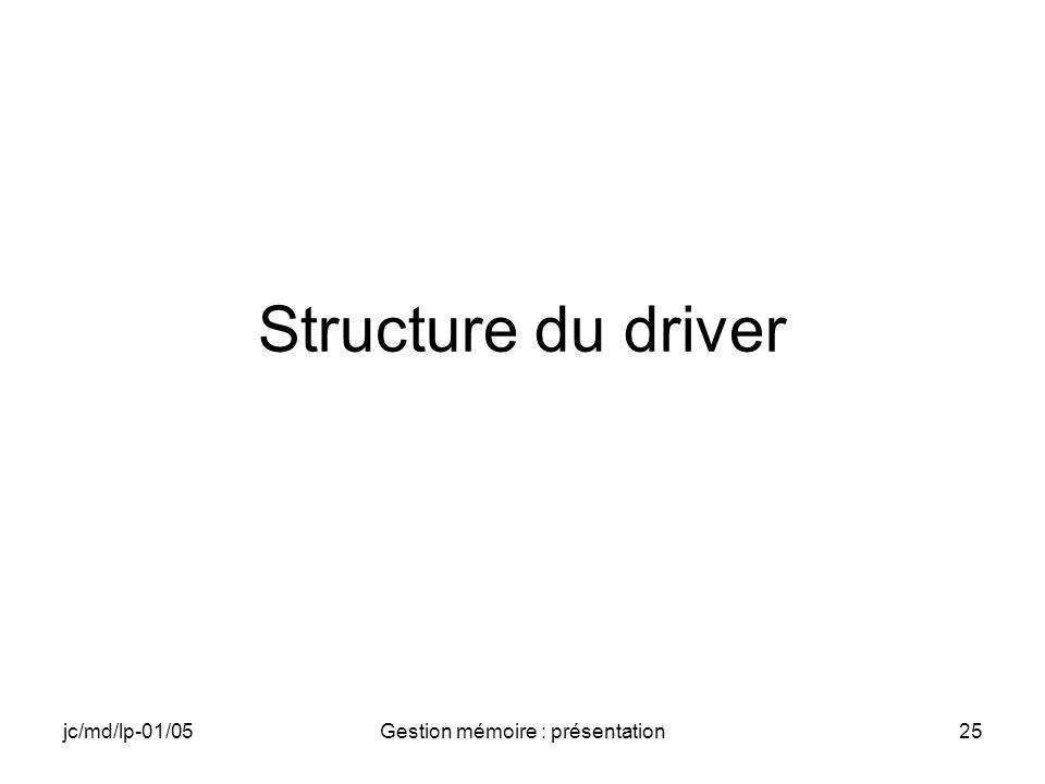 jc/md/lp-01/05Gestion mémoire : présentation26 Entête du driver //includes // TODO //définitions et réservations globales // TODO //entrée du driver BOOL APIENTRY DllMain(HANDLE hModule, DWORD ul_reason_for_call, LPVOID lpReserved ) { return TRUE; }