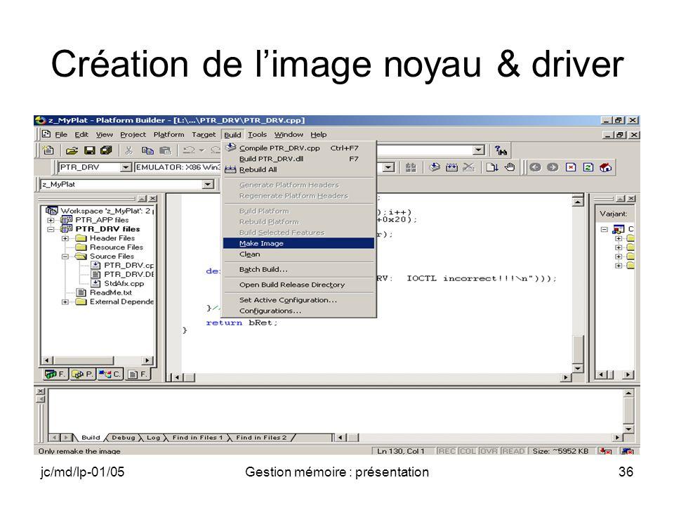 jc/md/lp-01/05Gestion mémoire : présentation37 Application PTR_APP Préparation