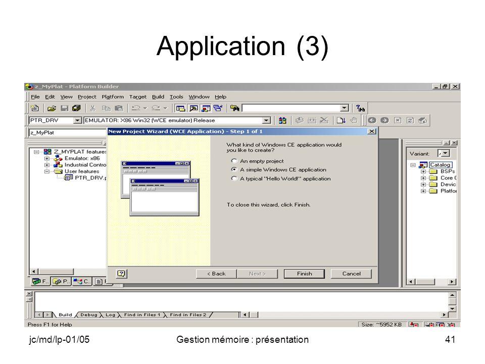 jc/md/lp-01/05Gestion mémoire : présentation42 Application (4)