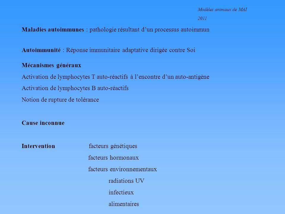 Modèles animaux de MAI 2011 Pourquoi des modèles animaux de maladies autoimmunes .