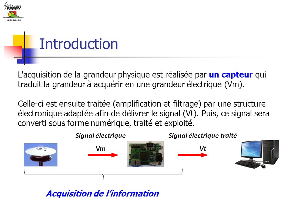 Identification de la fonction réalisée Un capteur associé à une unité de conditionnement réalise la fonction ACQUERIR de la chaîne d information :