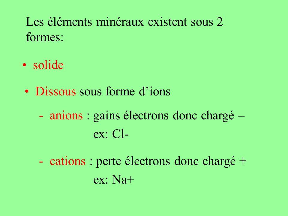 Les éléments minéraux ont un rôle fonctionnel
