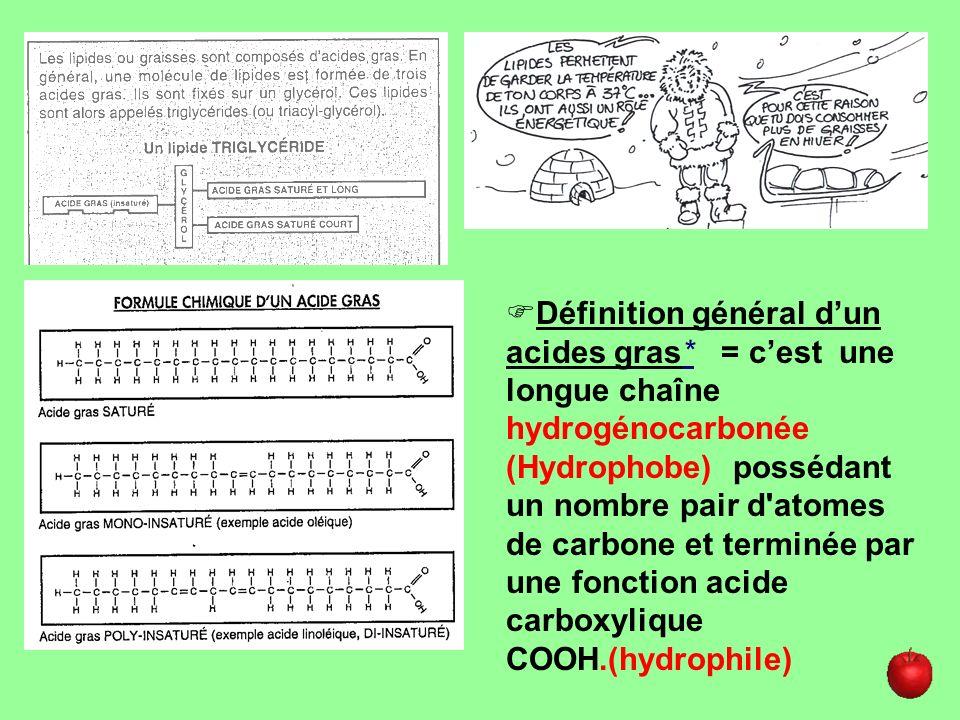 - Saturés* (AGS) : qui ne possèdent pas de double liaison, chaîne de carbone saturée en hydrogène - MonoInsaturés* (AGMI) : qui possèdent une double liaison ex : acide oléique - PolyInsaturés* (AGPI) : qui possèdent plusieurs double liaison ex : acide linoléique et linoléiques Définition des différents acides gras (lipides simples)