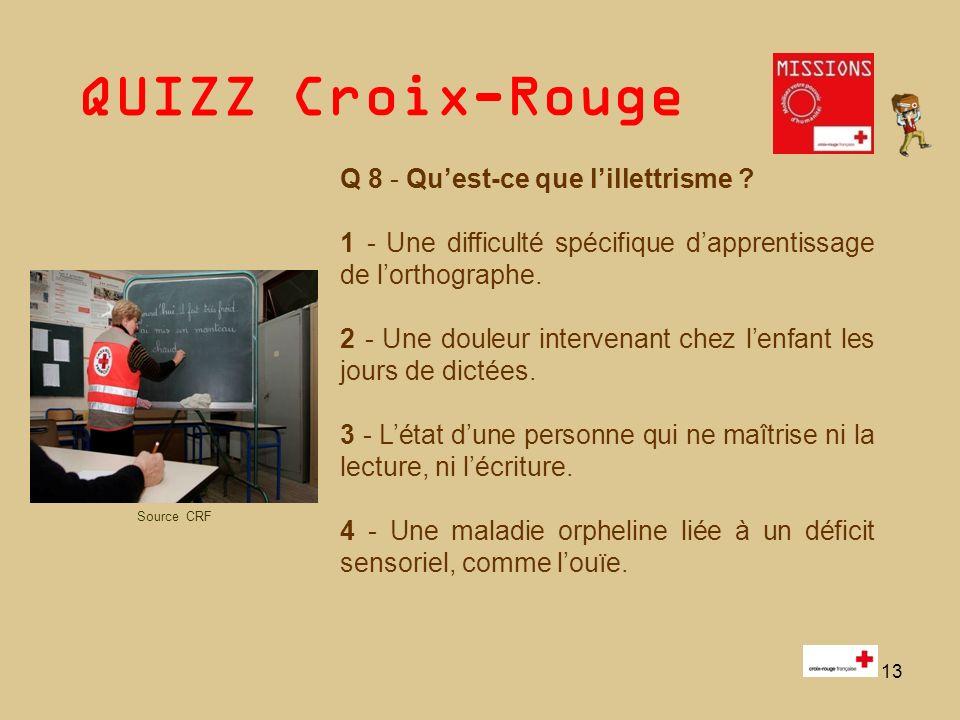 QUIZZ Croix-Rouge 14 Réponses du Quizz