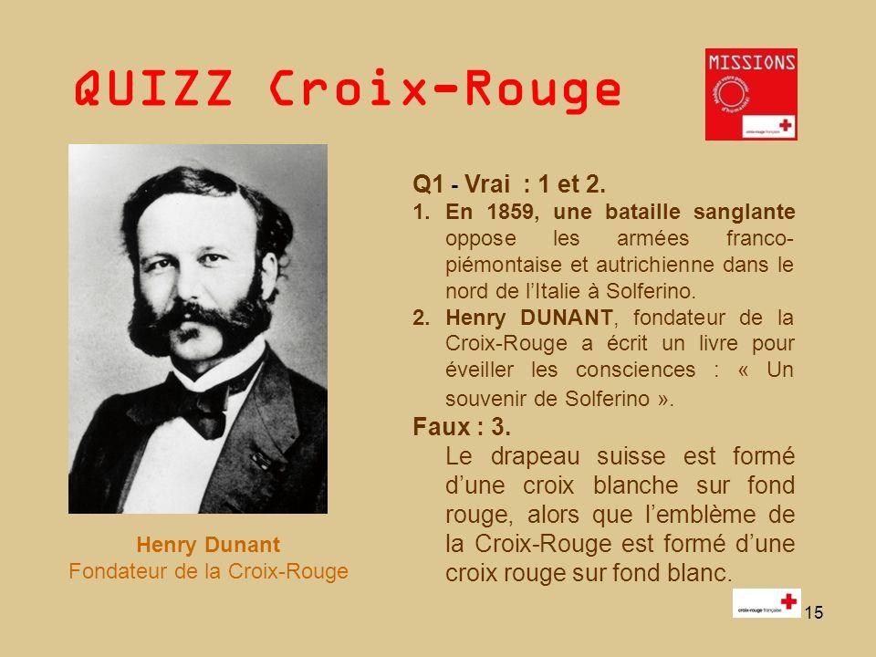 QUIZZ Croix-Rouge 16 Q2 HUMANITE : Respecter lêtre humain et sa dignité.