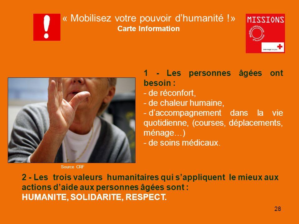 QUIZZ Croix-Rouge « Mobilisez votre pouvoir dhumanité !» Carte Action Internationale Un homme est évacué dans un camp de réfugiés géré par la Croix-Rouge.