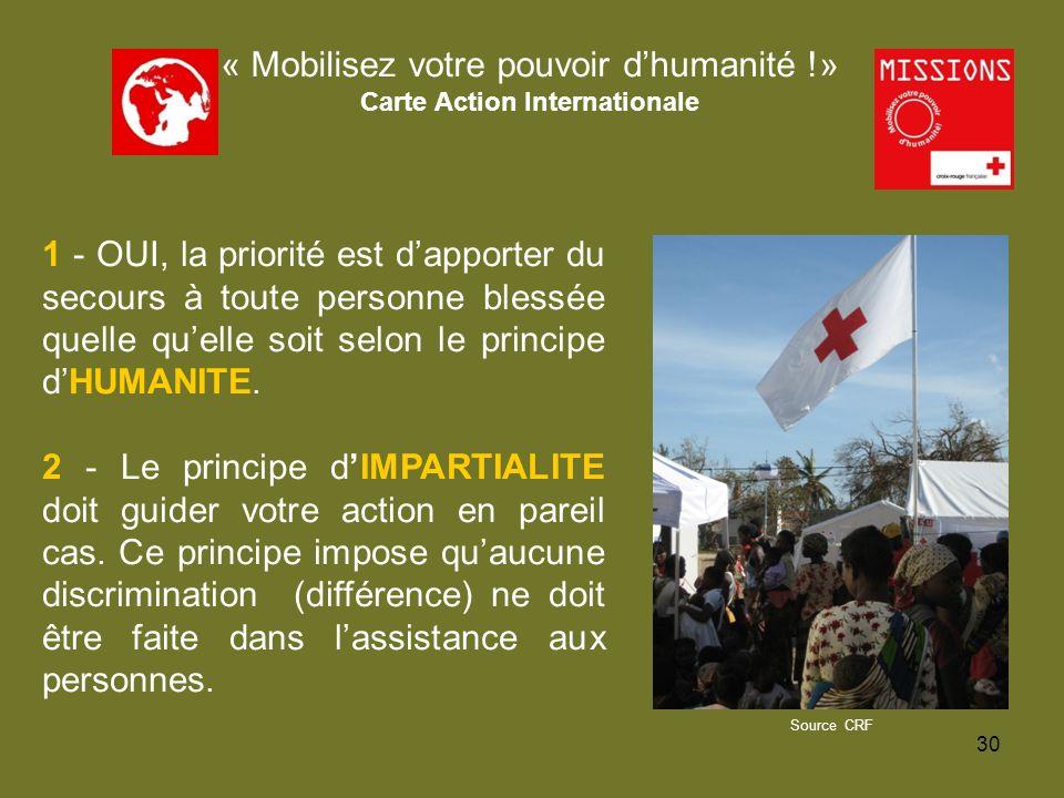 QUIZZ Croix-Rouge « Mobilisez votre pouvoir dhumanité !» Carte Action Locale Dans une classe de collège où les élèves sapprêtent à se mettre au travail en groupe, Marc vient trouver son professeur.