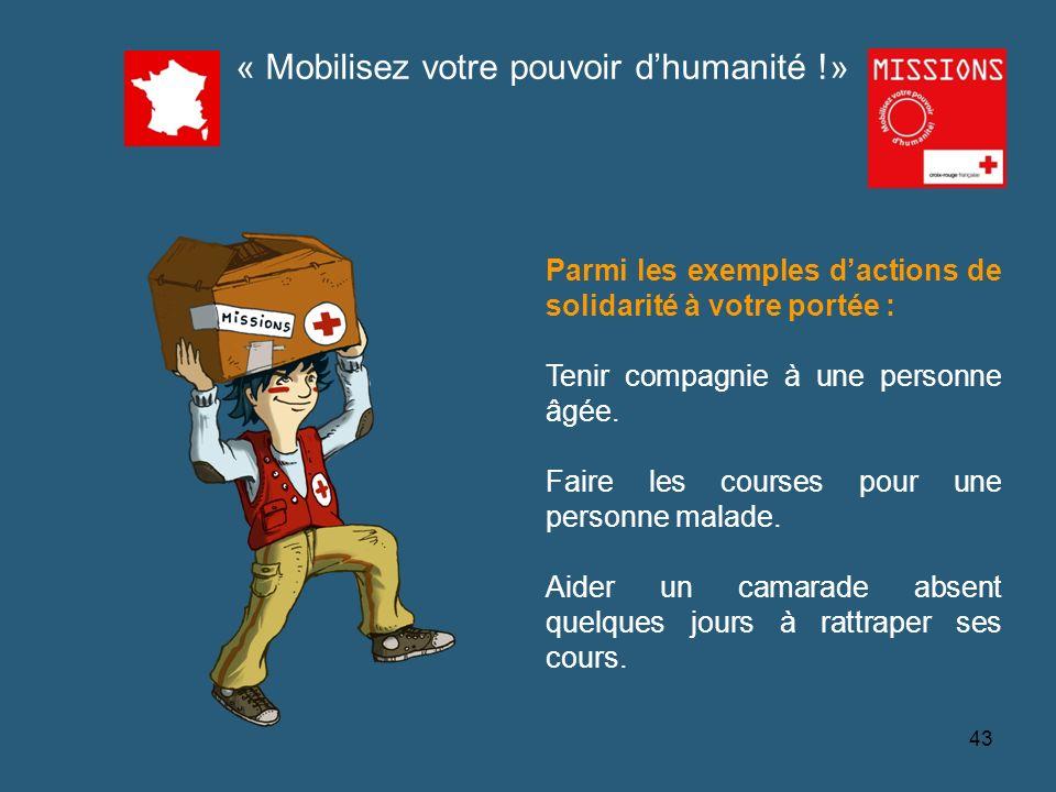 QUIZZ Croix-Rouge « Mobilisez votre pouvoir dhumanité » 1 - 44 « Seuls ceux qui sont assez fous pour penser quils peuvent changer le monde y parviennent ».