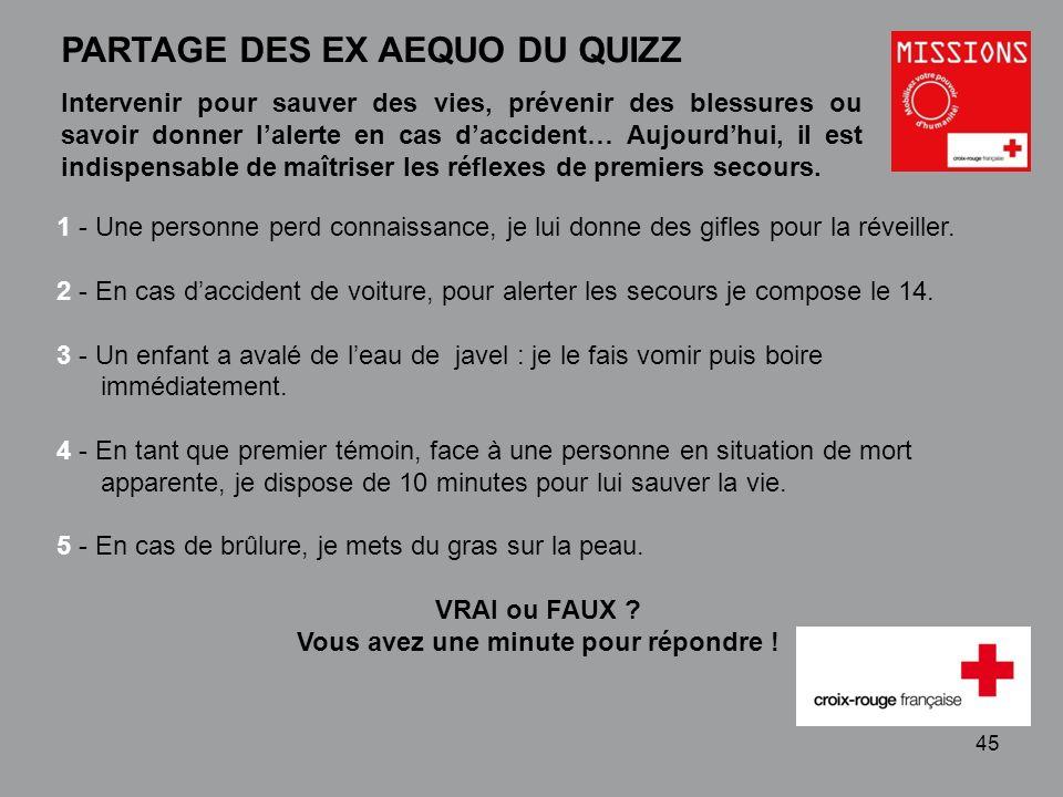 QUIZZ Croix-Rouge « Mobilisez votre pouvoir dhumanité » 1 - 46 PARTAGE DES EX AEQUO DU QUIZZ 1 - FAUX : Je la mets sur le côté après avoir fait basculer prudemment sa tête en arrière.
